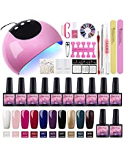 Saint-Acior 10PCS Esmalte Semipermanente Soak off 8ml Esmalte de Uñas 24W Secador de Uñas UV/LED Lámpara Capa Base Capa Superior Kit de Manicura