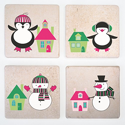 Holiday Decorated Stone Drink Coasters- Set of 4 - Funny Beer Mat for Beverage (Penguin) (Yuengling Gift Basket)