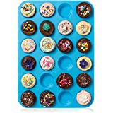Lucentee® Large Mini Muffin Pans - Top Non Stick Bakeware for Muffins, Cakes and Cupcakes - 24 Cups Texas Jumbo Silicone Mold / Baking Tray - Heat Resistant Tins up to 450°F- Easy to Clean - Blue