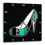 3dRose 3D Rose dpp_57147_3 I Love Animal Print High Heel Shoe-Teal Cheetah and Zebra-Wall Clock 15-Inch (3)