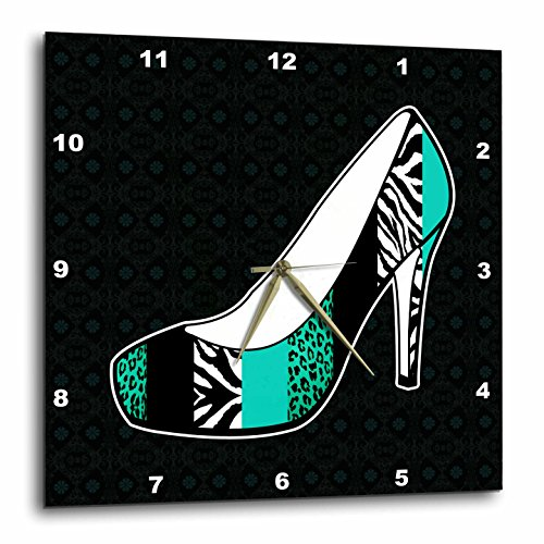 Teal Zebra (3D Rose dpp_57147_3 3dRose I Love Animal Print High Heel Shoe-Teal Cheetah and Zebra-Wall Clock 15-inch (3))