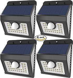 Vivii 30 led Solar lights, Super Bright LED Security Lighting Outdoor Motion Sensor Solar Spotlight flood Lighting for Garden, Patio, Fencing, and Pathway - 4 PACK by VIVII