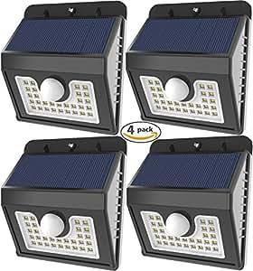 Vivii 30 led Solar lights, Super Bright LED Security Lighting Outdoor Motion Sensor Solar Spotlight flood Lighting for Garden, Patio, Fencing, and Pathway - 4 PACK