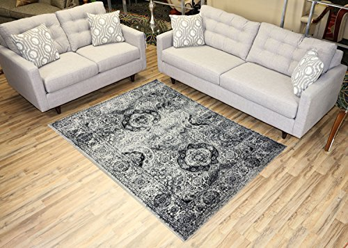 Studio Collection Vintage French Aubusson Design Contemporary Modern Area Rug Rugs 3 Different Color Options (Aubusson Ivory Grey, 5 x 7)