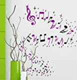 i.LifeUK-Music Note & Star Window Wall Art Loose Stickers Decals-Pink