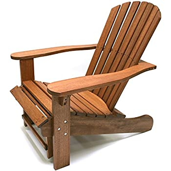 Beau Outdoor Interiors CD3111 Eucalyptus Adirondack Chair And Built In Ottoman