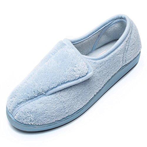 - Git-up Women Diabetic Slippers Arthritis Edema Memory Foam Closed Toed Slippers, Blue, 10 D(M) US
