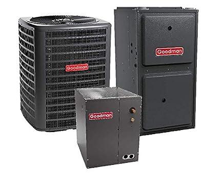 Goodman 3 Ton 15 SEER Air Conditioner GSX160361, Coil CAPF3137B6, 60,000 BTU 96% AFUE Upflow Gas Furnace GMVC960603BN