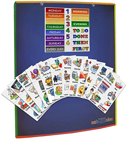 Daily Schedule Chart - SchKIDules 3 Pc Home Bundle: Daily and Weekly Magnetic Visual Schedule, Kids Calendar and Behavioral Tool for Kids with 14
