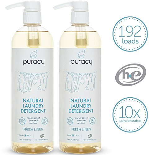 Puracy Natural 10x Liquid Laundry Detergent, Fresh Linen, Sulfate-Free Enzyme Laundry Soap, 192 loads, 24 Ounce Bottle, (Pack of 2)