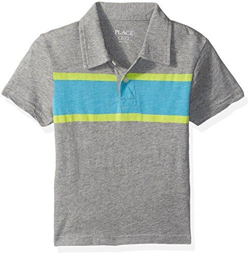 The Children's Place Big Boys' Polo Shirt with Stripe, H/T Smoke, XL (14)