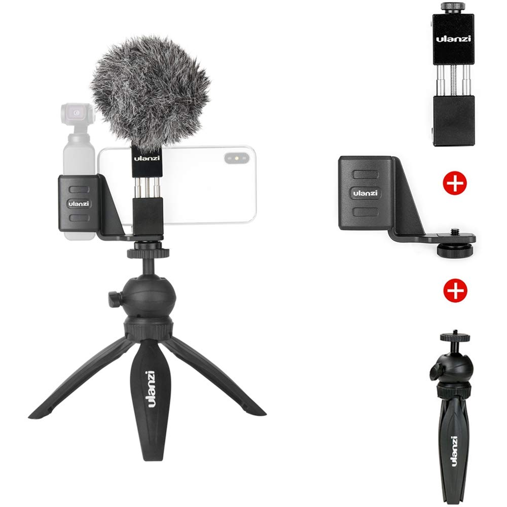 Handheld Phone Holder With Tripod Stand Full Setup Compatible with DJI OSMO Pocket Accessories Cold Shoe Mounting Support Extra Microphone LED Video Light Aluminum Alloy
