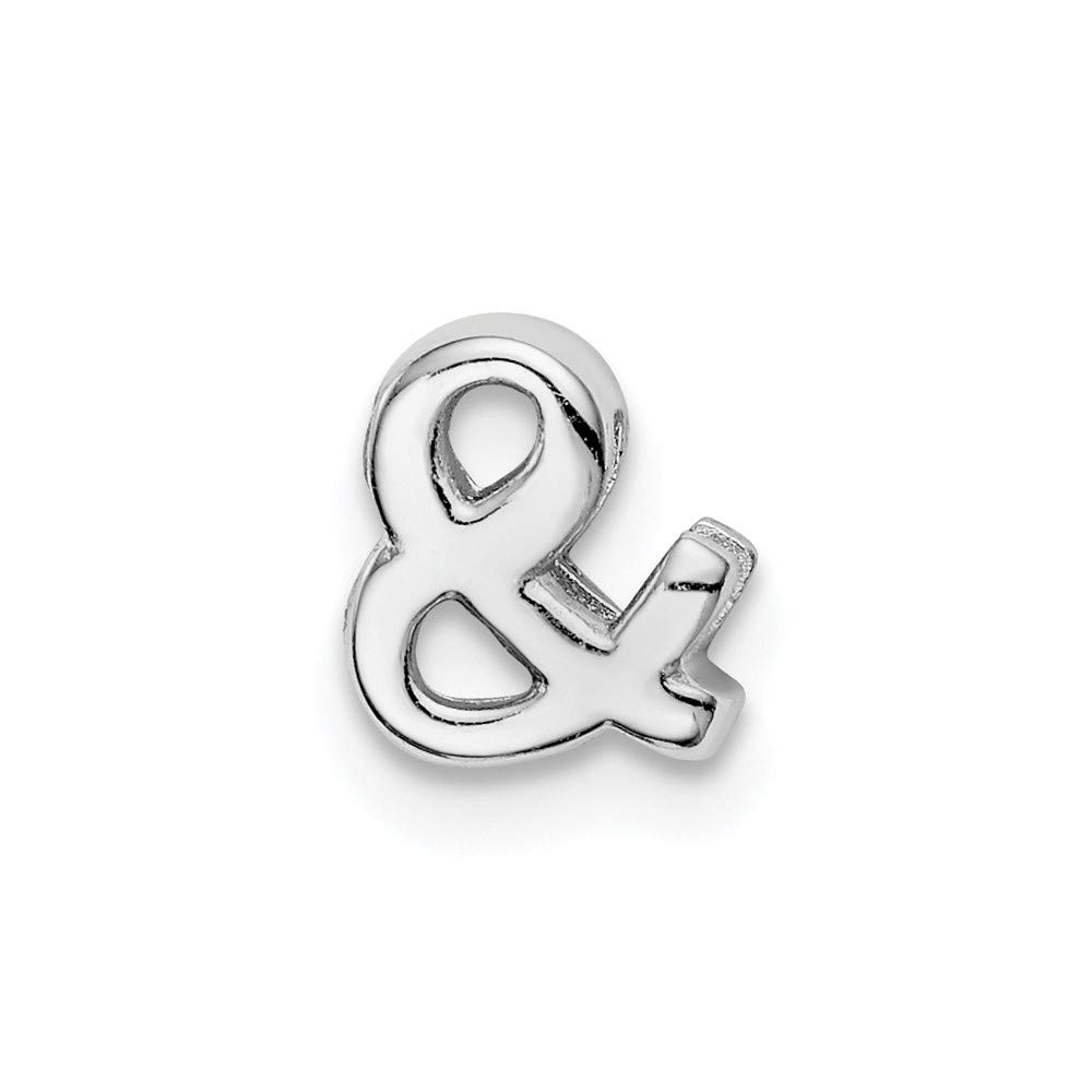 925 Sterling Silver Rhodium plated Ampersand Slide Charm