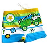 Green Boy Leg Swim Shorts For Kids Cartoon Car Swim Trunk(3-5 Years Old)