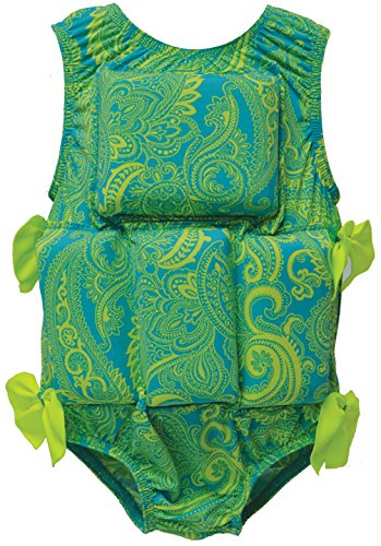 (My Pool Pal Girl's or Boy's Swimwear Flotation Lifevest Swimsuit (Lime Paisley, Small))