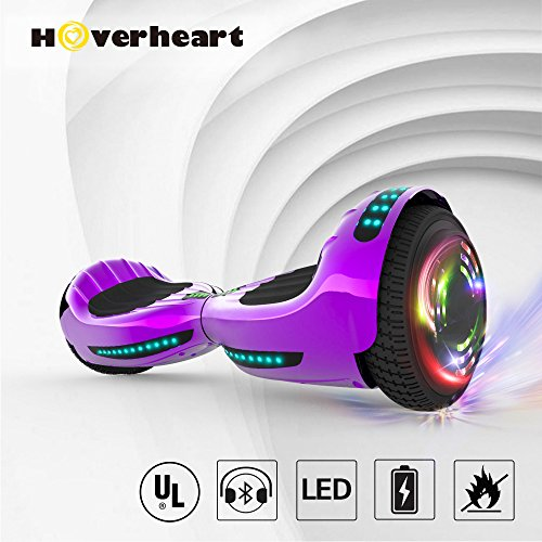 Hoverboard UL 2272 Certified Flash Wheel 6.5' Bluetooth Speaker with LED Light Self Balancing Wheel Electric Scooter (Chrome Violet)