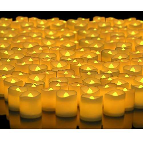 Novelty Place® [Longest Lasting] Battery Operated Flickering Flameless LED Votive Candles (Pack of 48)