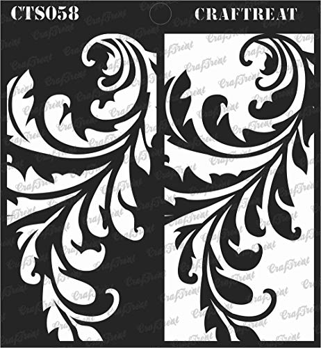 (CrafTreat Stencil - Flourish Positive Negative | Reusable Painting Template for Journal, Home Decor, Crafting, DIY Albums, Scrapbook and Printing on Paper, Floor, Wall, Tile, Fabric, Wood 6