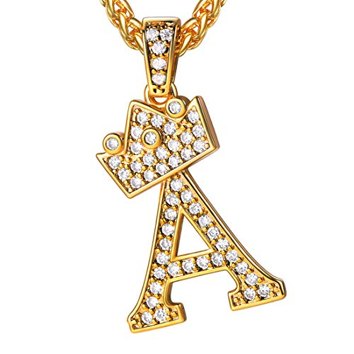 U7 Bling Alphabet Name Jewelry Men CZ Crowned Initial Necklace Iced Out King Crown Women 18K Gold Plated Cubic Zirconia Letter Pendant 3mm 22