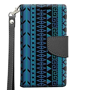 Alcatel OneTouch Pop Astro Wallet Case - Aztec Vertical Blue Aqua on Black