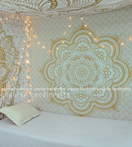 (Popular Handicrafts Kp647 Flower Ombre Gold Large Ombre Tapestry Indian Mandala Wall Art Hippie Wall Hanging Bohemian Bedspread Multi Purpose Tapestries 84x90 Inches)