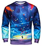 Pizoff Men Women Hip Hop 3D Digital Colorful Galaxy Balloon Printing Long Sleeve Sweatshirts Autumn Tops Y1813-05-L