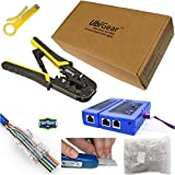 UbiGear Cable Tester +Crimp Crimper +50 RJ45 CAT5e Pass-though Connector Plug Network Tool Kits (568ToolKits)