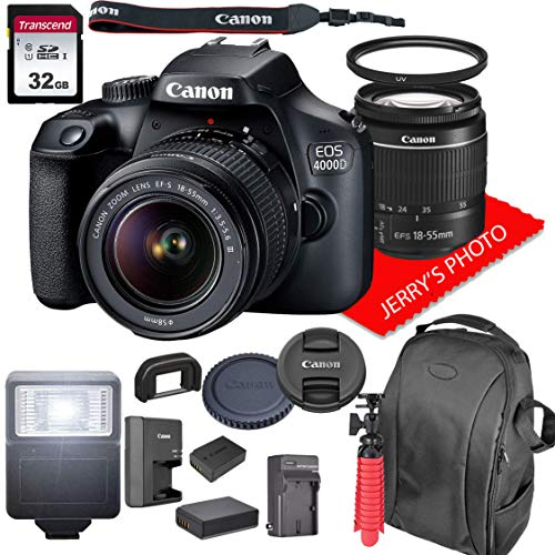 Canon EOS 4000D DSLR Camera w/ 18-55mm F/3.5-5.6 Zoom Lens + Backpack Case + 32GB SD Card (16pc Bundle)