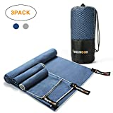 isnowood Set of 3 Microfiber Towels Gym, Travel, Camp, Beach, Backpacking, Sports Outdoor Swim - Quick Dry · Absorbent · Antimicrobial · Compact · Carabiner · Lightweight Men Women