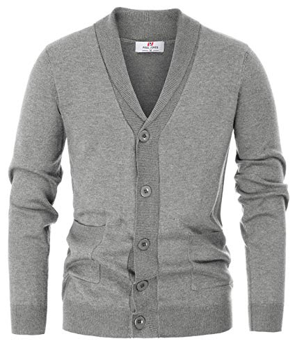 PAUL JONES Men's Cable Knit Shawl Collar Button Down Cardigan Sweater Size XL Grey ()