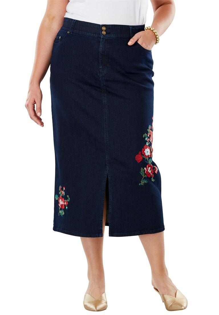 Jessica London Women's Plus Size Tummy-Control Denim Maxi Skirt Indigo Flower