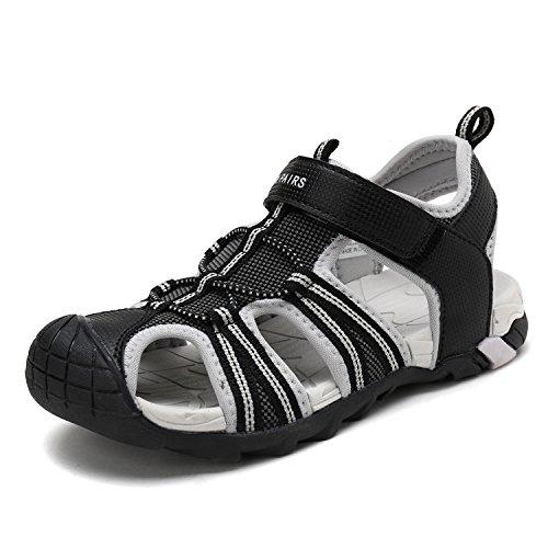 (DREAM PAIRS Little Kid 170813-K Black Light Grey Outdoor Summer Sandals Size 2 M US Little)
