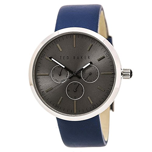 Ted Baker Men's 'Smart Casual' Quartz Stainless Steel and Leather Dress Watch, Color:Blue (Model: 10026553)