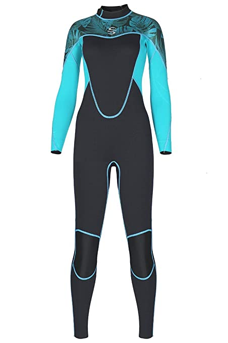 5094e1ae358 Amazon.com  Micosuza Women Full Body Wetsuits with Premium 2mm Neoprene  Long Sleeve Long Leg Back Zip for Diving Snorkeling Surfing Swimming   Sports   ...