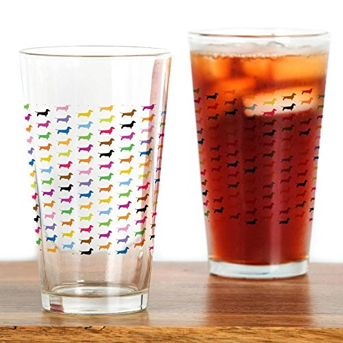 CafePress Colorful Dachshunds Glass Drinking
