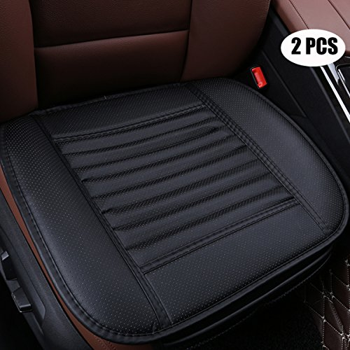EDEALYN (2 PCS Four Seasons General Pu Leather Bamboo Charcoal Breathable Car Interior Seat Cushion Cover Pad Mat for Auto Car Supplies (Black) (Leather Seat Cushion)