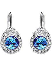 Swarovski Elements Crystals Circular White Gold Plated Earrings for Women Girls