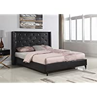 Home Life Premiere Classics Leather Black Tufted with Nails Leather 51 Tall Headboard Platform Bed with Slats Queen - Complete Bed 5 Year Warranty Included 007