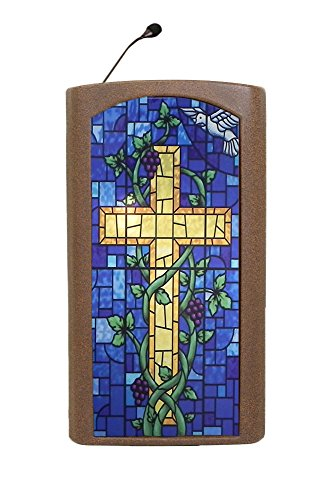 (Accent Classic Integrator Standing Speaking Church School Pulpit Podium, Bronze with Stained Glass Front, Dan James Original)