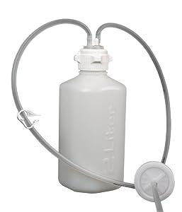Foxx Life Sciences 305-4002-FLS Vactrap, 2L Vacuum Bottle, HDPE, 53mm VersaCap w/Two 1/4inch HB and sealable Vent Port, Bleach Compatible, No Bin, 1EA