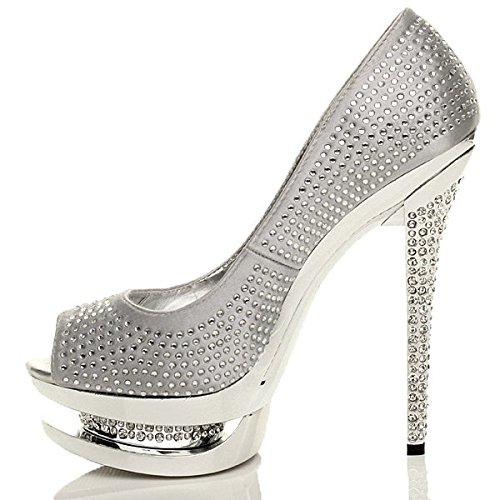 talon haut Argent soirée chaussures strass plateforme sandales pointure ouvert Femmes Adn7WOd