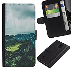 EuroTech - Samsung Galaxy Note 4 SM-N910 - Landscape Grey Canyon Summer Clouds - Cuero PU Delgado caso Billetera cubierta Shell Armor Funda Case Cover Wallet Credit Card
