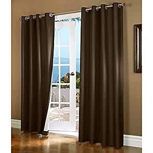 "Gorgeous Home *DIFFERENT SOLID COLORS & SIZES* (#32) 2 PANELS SOLID THERMAL FOAM LINED BLACKOUT HEAVY THICK WINDOW CURTAIN DRAPES SILVER GROMMETS (BROWN COFFEE, 84"" LENGTH)"