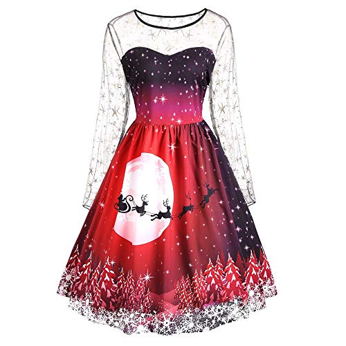 Seaintheson Women Dress for Christmas Party, Fashion Xmas Printed Floral Lace Patchwork Swing A-Line Elegant Dress -