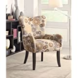 Coaster 902052 Plush Patterned Accent Chair, Beige Circles