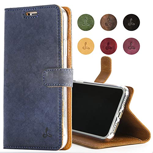 Snakehive Apple iPhone Xs Max Case, Luxury Genuine Leather Wallet with Viewing Stand and Card Slots, Flip Cover Gift Boxed and Handmade in Europe for Apple iPhone Xs MAX - (Navy) from SnakeHive