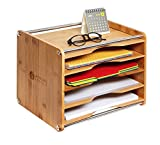JackCubeDesign 5 Tier Bamboo Office Document File Organizer Desktop Mail Letter A4 Paper Sorter Tray Cabinet Holder Storage Box with Stainless Steel Protection(14 X 10.6 X 10.9) – :MK388A