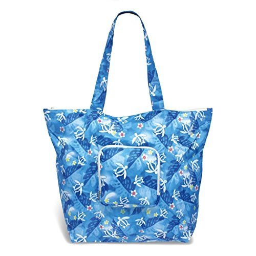(Hawaiian Honu Turtle Floral Deluxe Foldable Travel Tote)