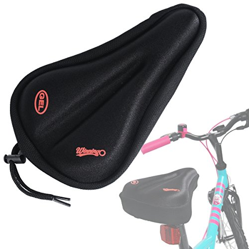 WINNINGO Child Bike Gel Seat Cushion, Toddler Cycling Saddle Cover Comfortable Small Bicycle Saddle Pad (Black) (Bike Seat Black)