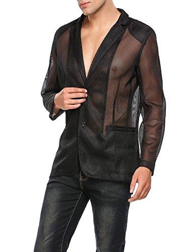 Jinidu Mens Valentines Day Gifts Sexy Fishnet See Through Clubwear Blazer Jacket - Sexy See Through Fishnet